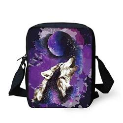 HUGS IDEA Splash Wolf Galaxy Fashion Kleine Messenger Bag Verstellbarer Gurt Schultertasche, Handy Geldbörse Violett von HUGS IDEA