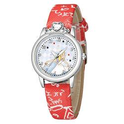 HaIfeng Kinderuhr Kinder-Quarz-Uhren for Mädchen-Kind-Uhr-Prinzessin Strass Königin Sweet Baby-Karikatur Kinderwache (Color : Red) von HaIfeng