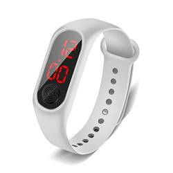 HaIfeng Kinderuhr Mode-Sport-Uhr for Kinder Kinder wasserdichte LED-Digitaluhr Ultra-Light-Silikon-Bügel Teen Jungen Mädchen Kinderwache (Color : White) von HaIfeng