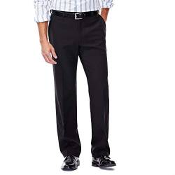 Haggar Men's Repreve Stria Hidden Expandable Waist Plain Front Dress Pant, Black,34x32 von Haggar