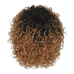 Hanomes Perücke Hair Wigs for Damen Peruanische Locken Echthaar Perücke Glueless Lace Front Echthaar Afro Wigs with Hair Bangs Natural Curls Wigs for Black Women kurzes Haar (C) von Hanomes