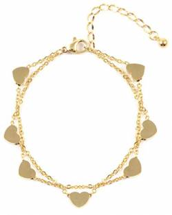 Happiness Boutique Damen Herz Armband in Goldfarbe | Mehrreihiges Armband Zarte Armkette Schmuck aus Titan von Happiness Boutique
