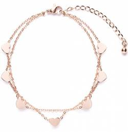 Happiness Boutique Damen Layered Armband mit Herz Anhängern in Rosegold | Hauchzarte Armkette aus Titan nickelfrei von Happiness Boutique