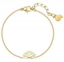 Happiness Boutique Damen Lotus Armband in Goldfarbe | Filigrane Armkette mit Lotusblume Anhänger Edelstahlschmuck von Happiness Boutique
