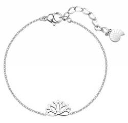 Happiness Boutique Damen Lotus Armband in Silberfarbe | Filigrane Armkette mit Lotusblume Anhänger Edelstahlschmuck von Happiness Boutique