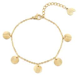 Happiness Boutique Damen Plättchen Armband in Goldfarbe | Kreis Armband Plättchen Anhänger Edelstahlschmuck von Happiness Boutique