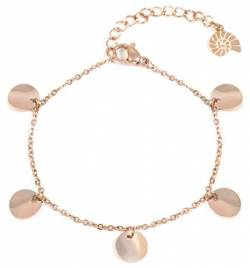 Happiness Boutique Damen Plättchen Armband in Rosegold | Kreis Armband Plättchen Anhänger Edelstahlschmuck von Happiness Boutique