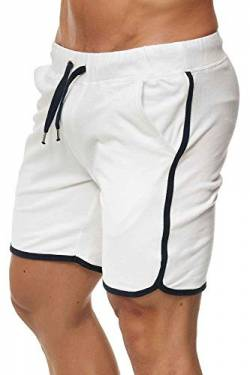 Happy Clothing Kurze Herren Hose Shorts Bermuda Jogginghose Sommer Pants Stoffhose Sweathose, Größe:L, Farbe:Weiß von Happy Clothing