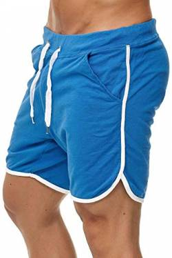 Happy Clothing Kurze Herren Hose Shorts Bermuda Jogginghose Sommer Pants Stoffhose Sweathose, Größe:M, Farbe:Blau von Happy Clothing