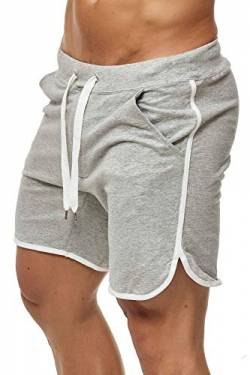Happy Clothing Kurze Herren Hose Shorts Bermuda Jogginghose Sommer Pants Stoffhose Sweathose, Größe:S, Farbe:Grau meliert von Happy Clothing
