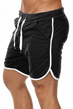 Happy Clothing Kurze Herren Hose Shorts Bermuda Jogginghose Sommer Pants Stoffhose Sweathose, Größe:S, Farbe:Schwarz von Happy Clothing