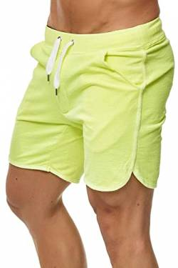Happy Clothing Kurze Herren Hose Shorts Bermuda Jogginghose Sommer Pants Stoffhose Sweathose, Größe:XXL, Farbe:Neongelb von Happy Clothing