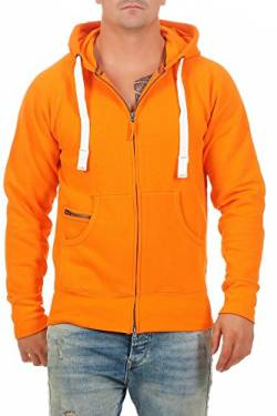 Happy Clothing Herren Sweatshirtjacke Zip Hoodie Kapuzenjacke bis 3XL, Größe:M, Farbe:Orange von Happy Clothing