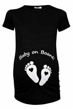Happy Mama Damen Umstands Oberteil T-Shirt Babyfüßchen Baby on Board Druck. 199p (Schwarz, 40-42, XL) von Happy Mama Boutique