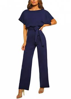Happy Sailed Damen Kurzarm O-Ausschnitt Elegant Lang Jumpsuit Overall Hosenanzug Playsuit Romper S-XL von Happy Sailed
