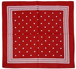 Harrys-Collection Unisex Bandana Bindetuch 100% Baumwolle (1 er 6 er oder 12 er Pack), Farbe:Punkte rot von Harrys-Collection
