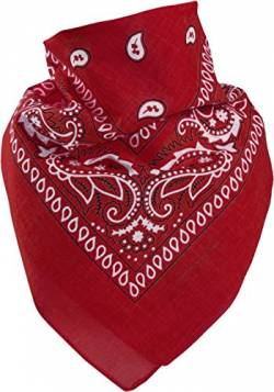 Harrys-Collection Unisex Bandana Bindetuch 100% Baumwolle (1 er 6 er oder 12 er Pack), Farbe:rot von Harrys-Collection