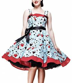 Hell Bunny Kleid Dixie Dress lightblue/red XS von Hell Bunny