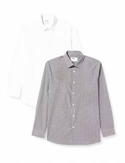 Hem & Seam Herren Businesshemd 2 Pack Regular Fit Checked, 2, Mehrfarbig (Gingham Black / White), 46 (Herstellergröße: 14.5) von Hem & Seam