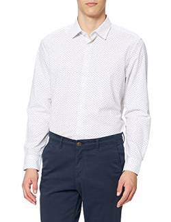 find. Herren Businesshemd 2 Pack Regular Shirt, Weiß (Ditsy Print / White), 37 cm, Label: XS von find.