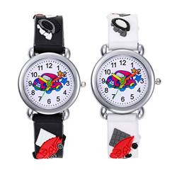 Hemobllo Kinderuhr, 3D Cartoon Kinderuhr,Silikon Kinderuhr,wasserdichte Kinderuhr, Cartoon Kinderuhr, kreative Kinderarmbanduhr für Kinder Geschenk 2Er (Schwarz + Weiß) von Hemobllo
