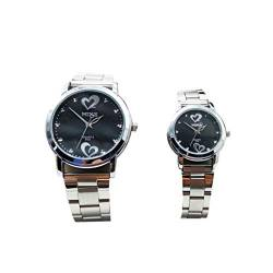 Hemobllo Couple Quartz Wrist Watch Steel Strap Wristwatch Quartz Watch Waterproof Wrist Watch Birthday Valentines Day Gift for Adults 2Pcs (Black) von Hemobllo