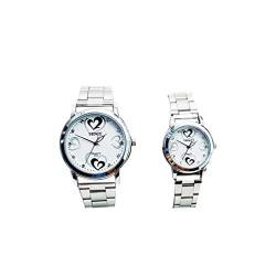 Hemobllo Couple Quartz Wrist Watch Steel Strap Wristwatch Quartz Watch Waterproof Wrist Watch Birthday Valentines Day Gift for Adults 2Pcs (White) von Hemobllo