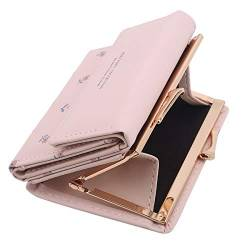 Hengxing Trifold Slim Coin Purs Frauen Kunstleder Small Compact Short Walle,Rosa von Hengxing