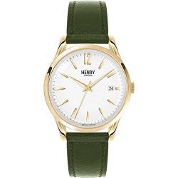 Henry London Herren Analog Quarz Uhr mit Leder Armband HL39-S-0098 von Henry London
