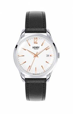 Henry London Unisex Analog Quarz Uhr mit Leder Armband HL39-S-0005 von Henry London