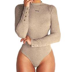 Highdas Frauen Stretch Bodysuit Langarm Top Damen Volltonfarbe Body Bodycon Overall von Highdas