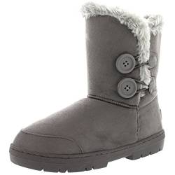 Holly Womens Twin Button Waterproof Winter Snow Boots - Grey - 10 - GRE43 AEA0151 von Holly