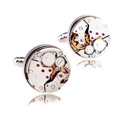 Honey Bear 1 Paar Rund Herren Manschettenknöpfe Cufflinks Steampunk Nicht-Bewegung Watch mit Geschenk Box (Silber) von HONEY BEAR