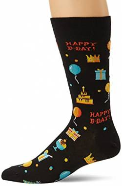 Hot Sox Herren Socken Happy Birthday Crew Gr. Medium, Schwarz von Hot Sox