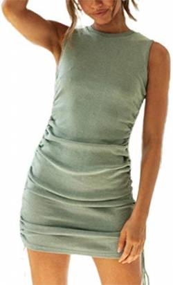 Women Sexy Bodycon Drawstring Ruched Short Dress Sleeveless Solid Color Mini Tank Dresses (Green, M) von Huyghdfb