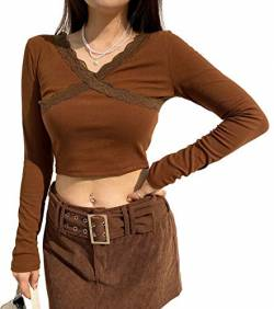Women V-Neck Long Sleeve Crop Top E-Girl Y2K Fashion Tank Top T-Shirt Summer Ribbed Shirt Pullover Streetwear (Brown, S) von Huyghdfb