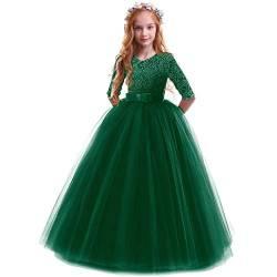 IMEKIS Kinder M/ädchen Blumenkleid Prinzessin Spitze T/üll Tutu Bowknot Kleid Hochzeit Geburtstag Abendkleid Formale Anlass Partykleid Festlich Festzug Ballkleid