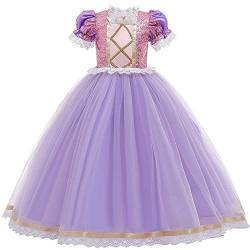 IBTOM CASTLE Rapunzel Kostüm Kinder Prinzessin Kleid Karneval Cosplay Party Halloween Faschingskostüm Festkleid Fancy Dress Up Violett(1PC) 6-7 Jahre von IBTOM CASTLE