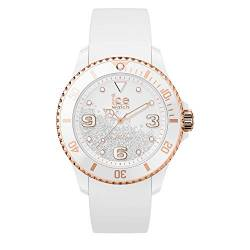 Ice-Watch - ICE crystal White rose-gold - Weiße Damenuhr mit Silikonarmband - 017248 (Medium) von Ice-Watch