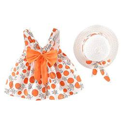 INLLADDY Kleider Baby Mädchen Blumendruck Kleid Ärmellose Urlaub Sommerkleid Kleinkind Prinzessin Kleidung Outfit + Hut Set 6 Monate-3 Jhare Orange   6-12 Monate von INLLADDY