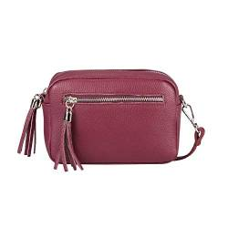 OBC Made in Italy Damen Leder Tasche Umhängetasche Schultertasche Beuteltasche Cross-Over Cross Bag Glattleder Schmucktasche Fransen Ledertasche (Bordeaux) von ITALYSHOP24COM