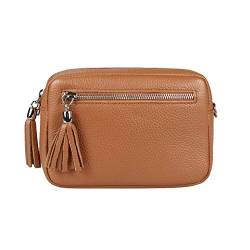 OBC Made in Italy Damen Leder Tasche Umhängetasche Schultertasche Beuteltasche Cross-Over Cross Bag Glattleder Schmucktasche Fransen Ledertasche (Cognac) von ITALYSHOP24COM