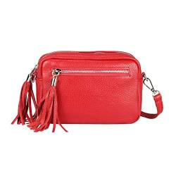 OBC Made in Italy Damen Leder Tasche Umhängetasche Schultertasche Beuteltasche Cross-Over Cross Bag Glattleder Schmucktasche Fransen Ledertasche (Rot) von ITALYSHOP24COM