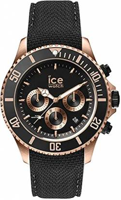 Ice-Watch - ICE steel Black Rose-Gold - Chrono - Men's wristwatch with silicon strap - Chrono - 016305 (Large) von Ice-Watch
