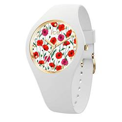 Ice-Watch - ICE flower White poppy - Women's wristwatch with silicon strap - 016665 (Medium) von Ice-Watch