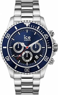 Ice-Watch - ICE steel Marine silver - Blaue Herrenuhr mit Metallarmband - 017672 (Large) von Ice-Watch