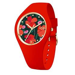 Ice-Watch - ICE flower Floral passion - Rote Damenuhr mit Silikonarmband - 017577 (Medium) von Ice-Watch