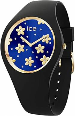 Ice-Watch - ICE flower Precious deep blue - Schwarze Damenuhr mit Silikonarmband - 017579 (Medium) von Ice-Watch