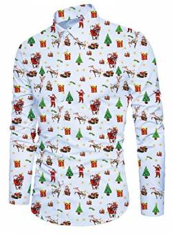 Idgreatim Teens Xmas Shirt Gedruckt Santa Langarm Button Down Aloha Cooles Design Herren Party Wear Weiß von Idgreatim