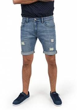 Indicode Hallow Herren Jeans Shorts Kurze Denim Hose Mit Destroyed-Optik Aus Stretch-Material Regular Fit, Größe:L, Farbe:Blue Wash (1014) von Indicode